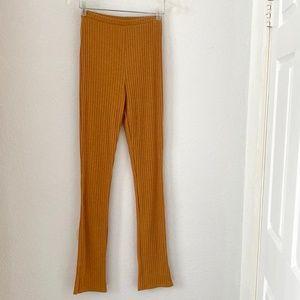 HERSHE Mustard legging with side split